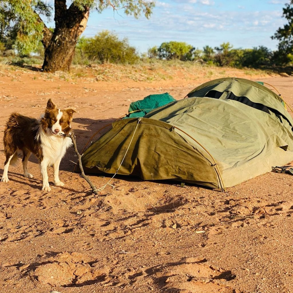 Setting up outback campsite