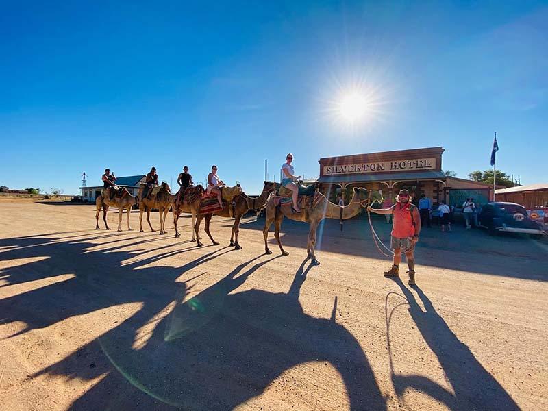Camel Ride and shadows at Silverton Hotel